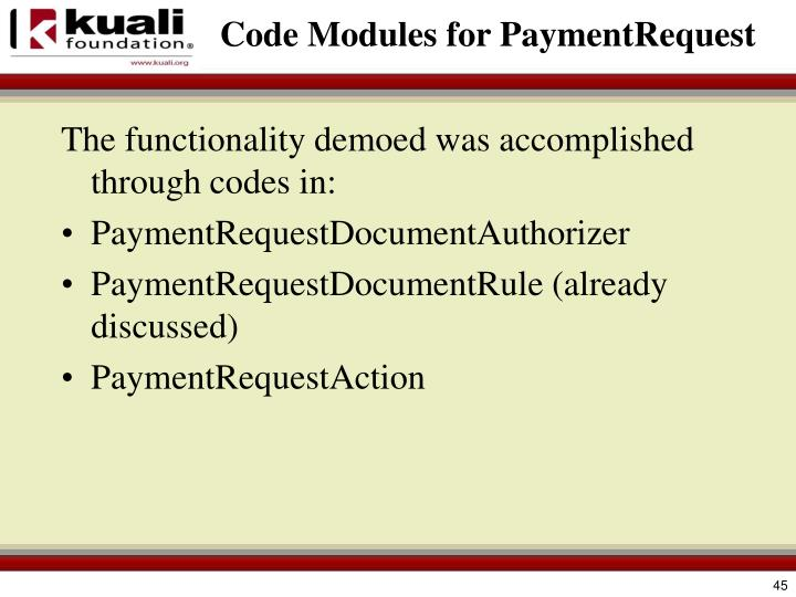 Code Modules for PaymentRequest