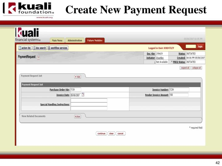 Create New Payment Request