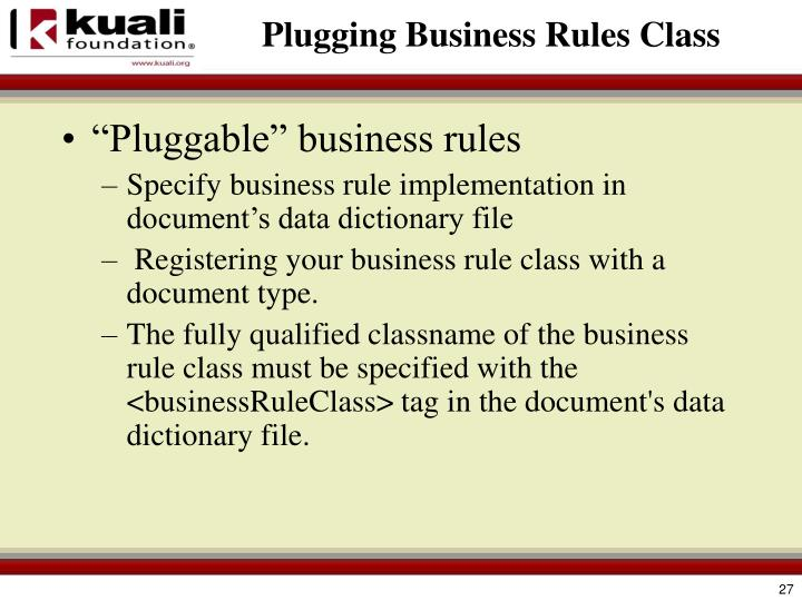 Plugging Business Rules Class