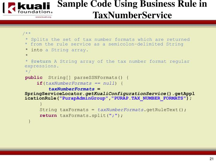 Sample Code Using Business Rule in