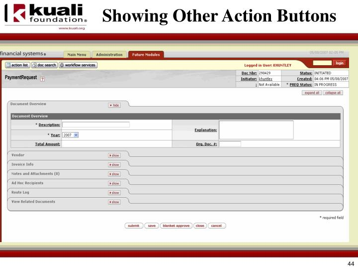 Showing Other Action Buttons