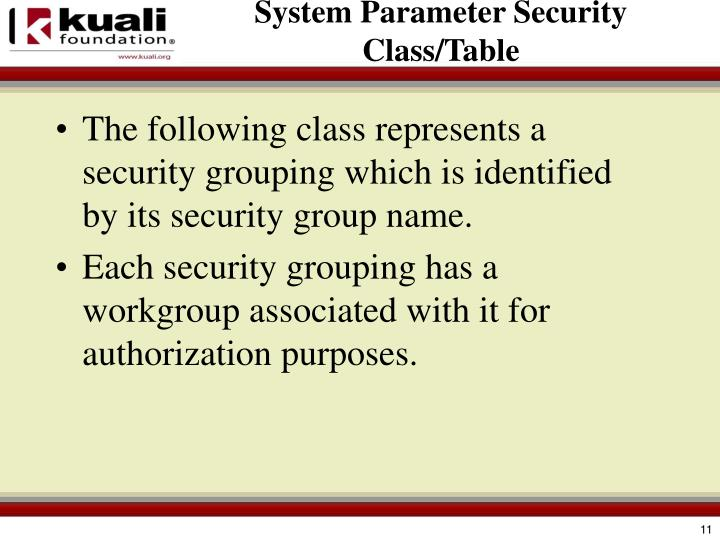 System Parameter Security Class/Table
