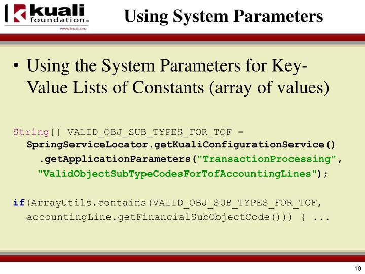 Using System Parameters