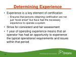 determining experience