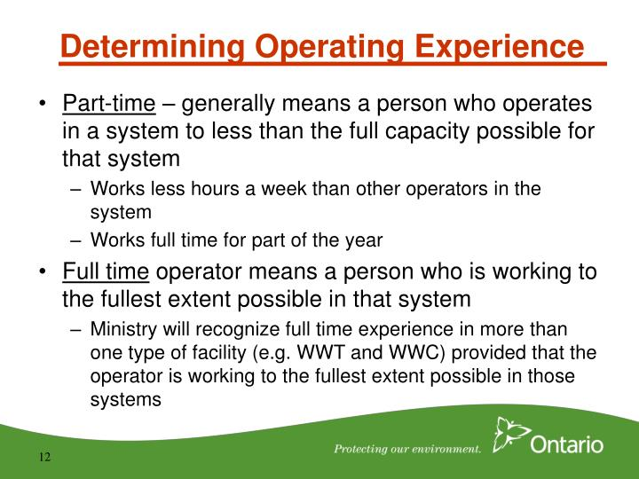 Determining Operating Experience