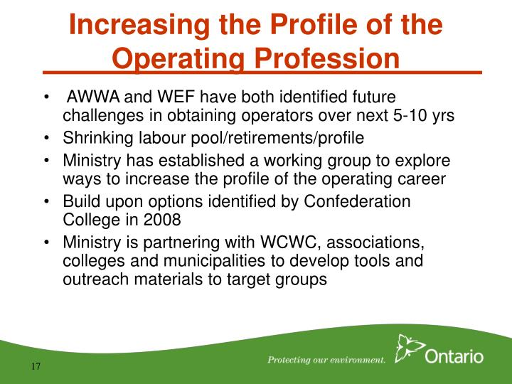 AWWA and WEF have both identified future challenges in obtaining operators over next 5-10 yrs