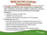 moe wcwc college partnership