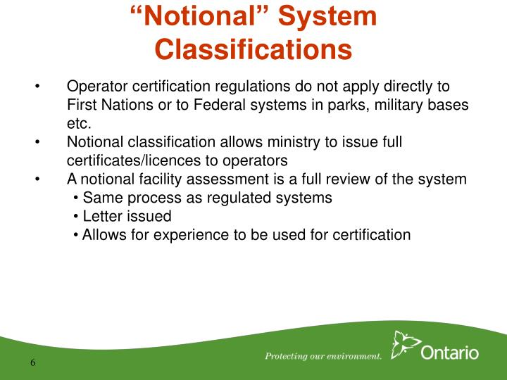 """Notional"" System Classifications"