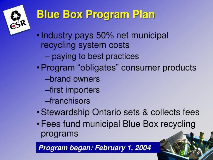 Blue Box Program Plan