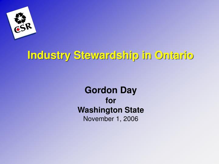 Industry stewardship in ontario