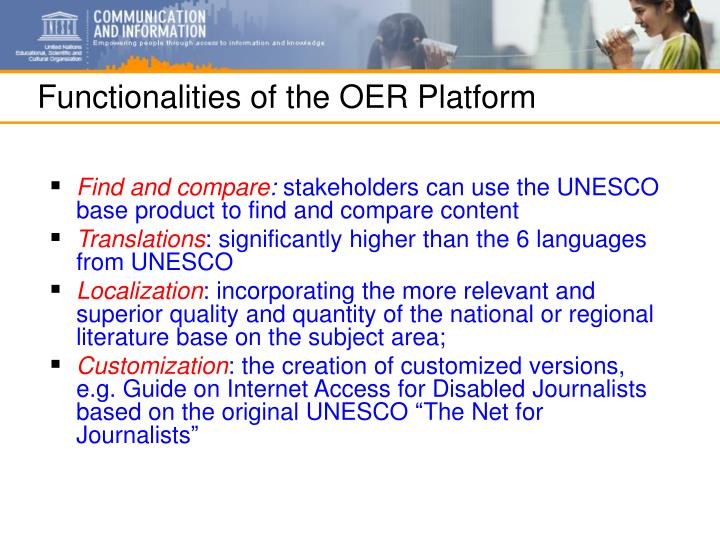 Functionalities of the OER Platform