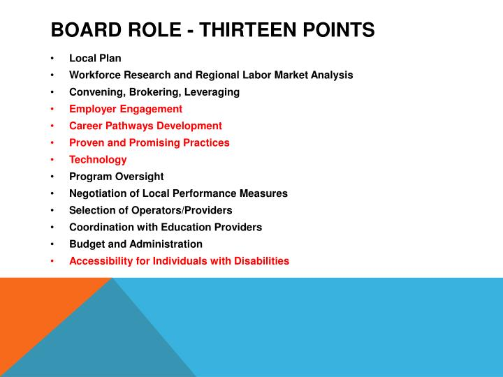 Board Role - Thirteen points