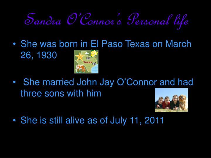 Sandra O'Connor's Personal life