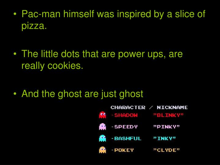 Pac-man himself was inspired by a slice of pizza.