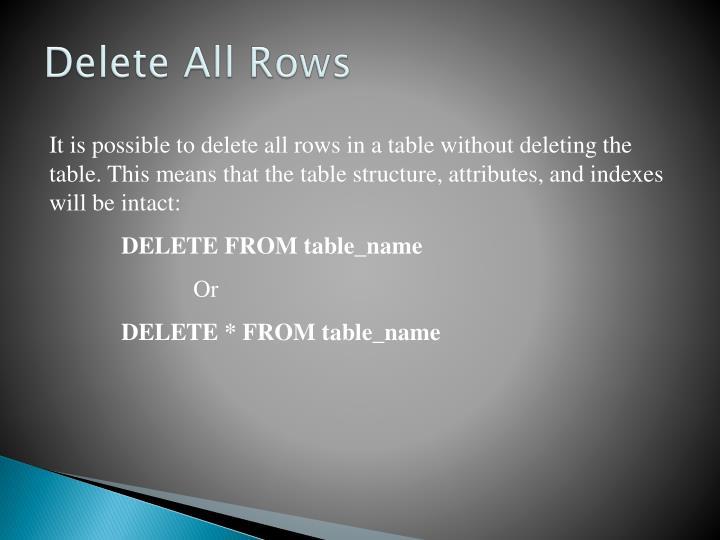 Delete All Rows