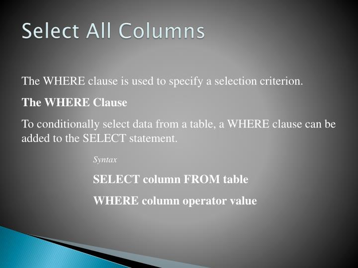 Select All Columns