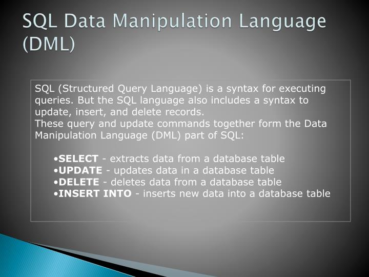 SQL (Structured Query Language) is a syntax for executing queries. But the SQL language also includes a syntax to update, insert, and delete records.