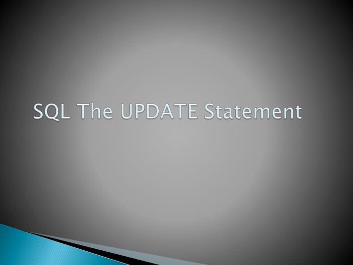 SQL The UPDATE Statement
