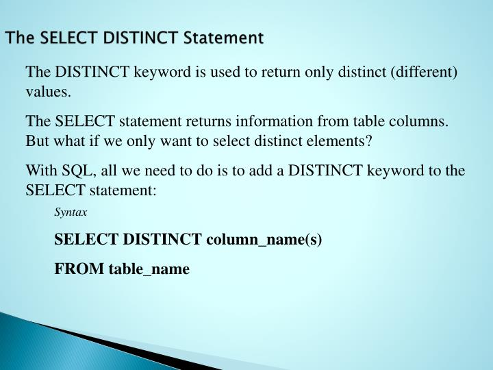 The SELECT DISTINCT Statement