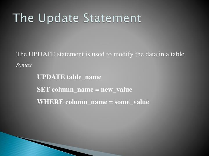 The Update Statement