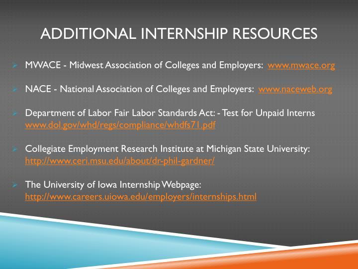Additional internship resources
