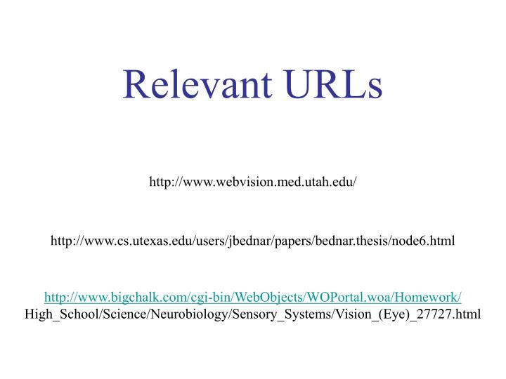 Relevant URLs