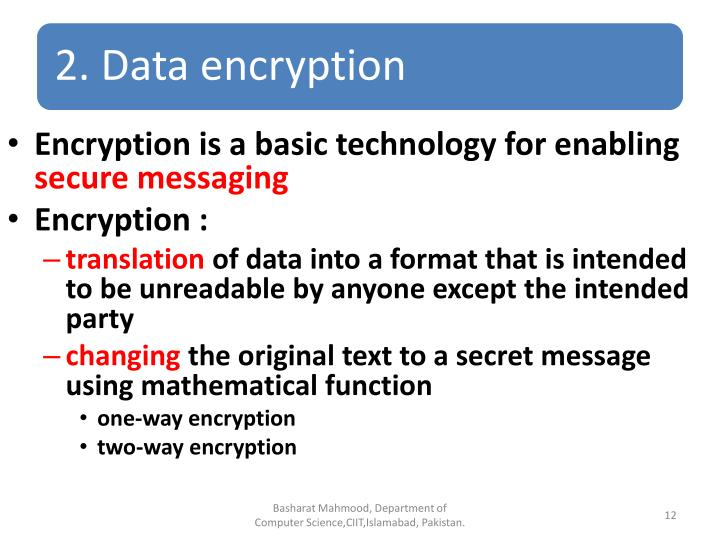 Encryption is a basic technology for enabling