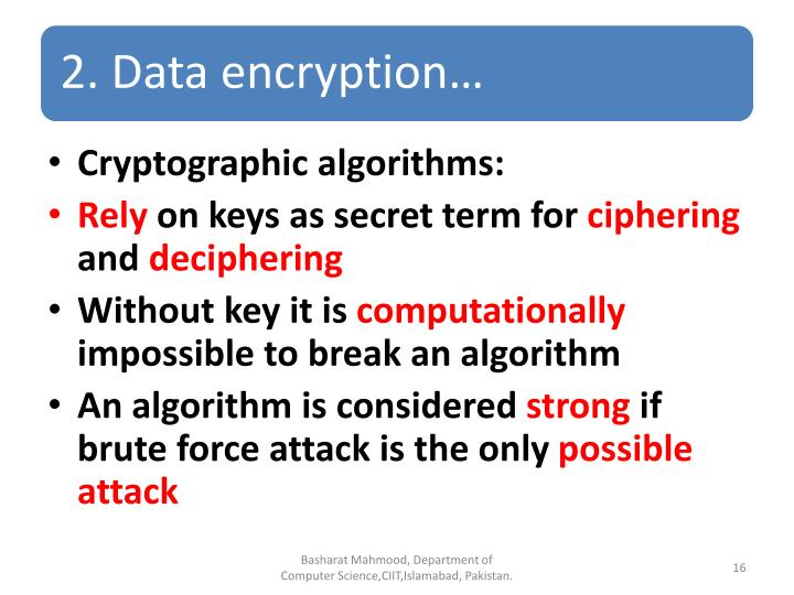 Cryptographic algorithms: