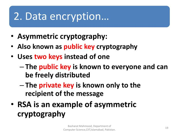 Asymmetric cryptography:
