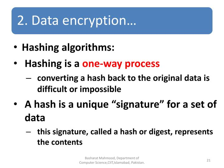 Hashing algorithms: