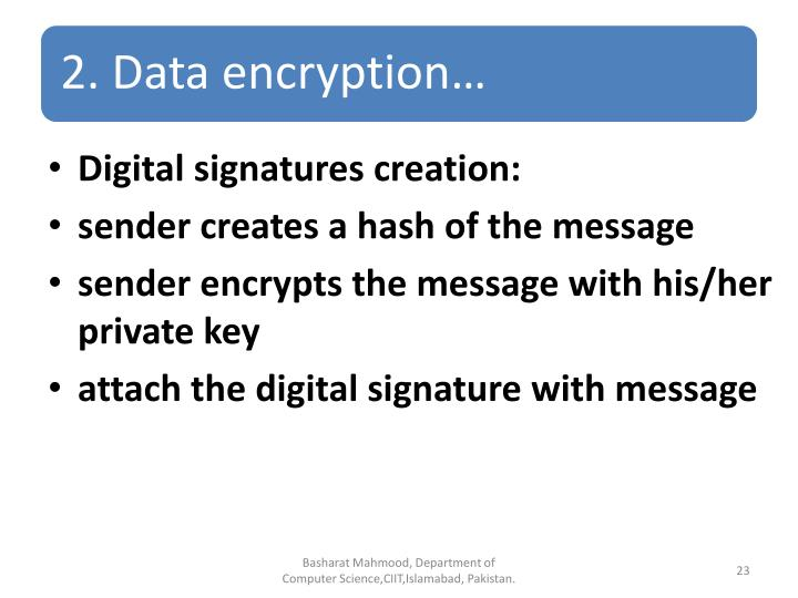 Digital signatures creation: