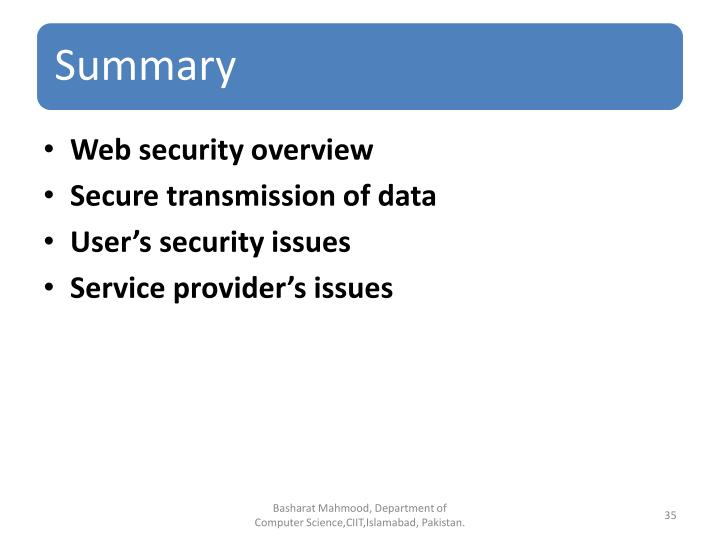 Web security overview