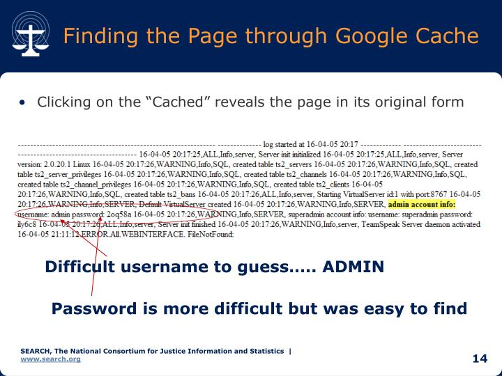 Finding the Page through Google Cache