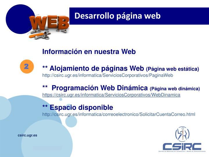 Desarrollo página web