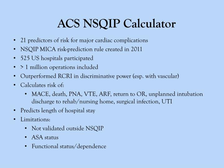 ACS NSQIP Calculator