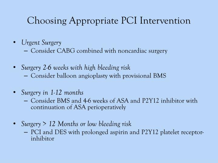 Choosing Appropriate PCI Intervention