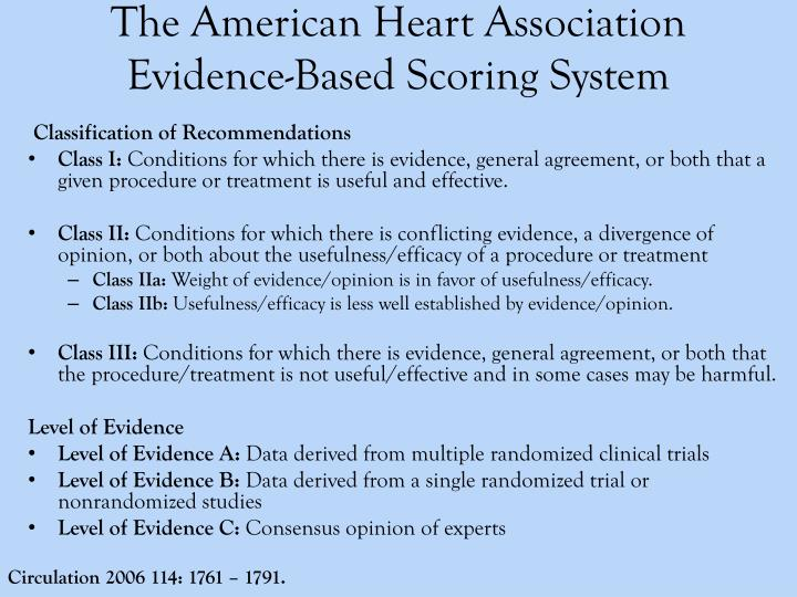 The American Heart Association Evidence-Based Scoring System
