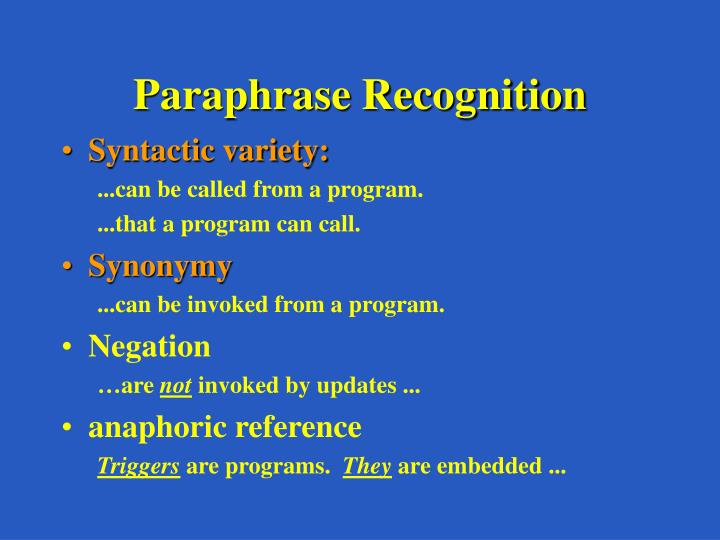 Paraphrase Recognition