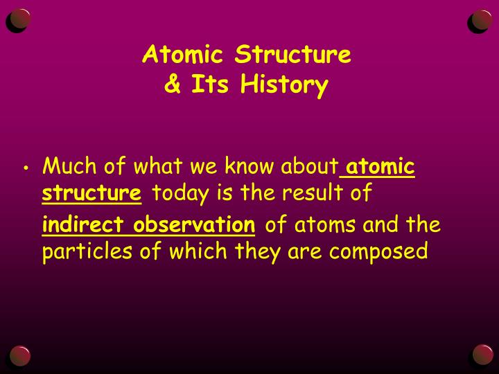 Atomic structure its history
