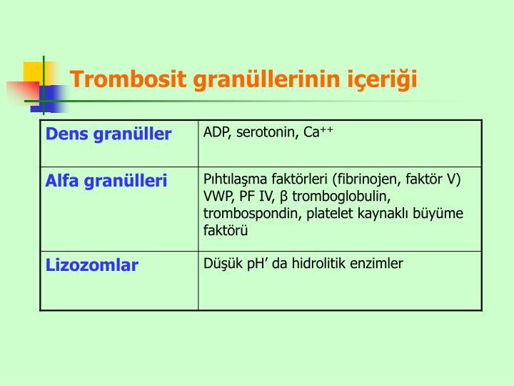Trombosit granüllerinin içeriği