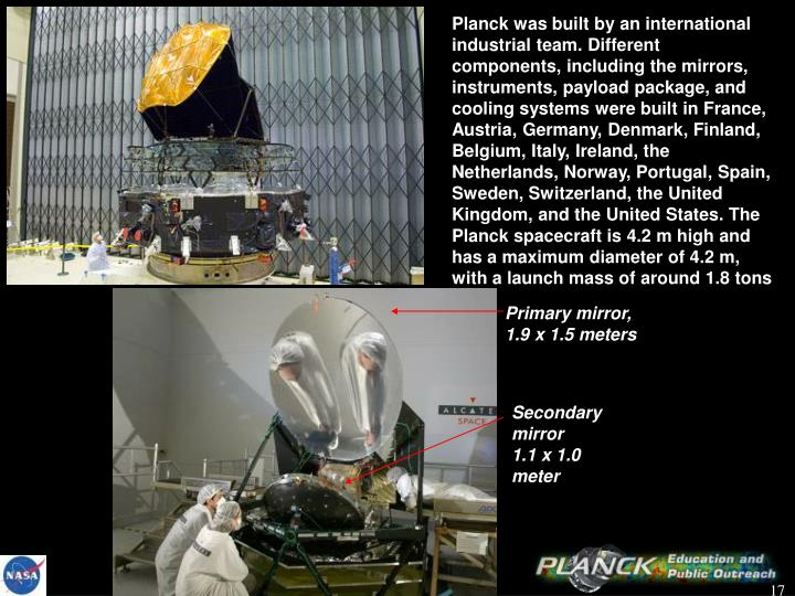 Planck was built by an international industrial team. Different components, including the mirrors, instruments, payload package, and cooling systems were built in France, Austria, Germany, Denmark, Finland, Belgium, Italy, Ireland, the Netherlands, Norway, Portugal, Spain, Sweden, Switzerland, the United Kingdom, and the United States. The Planck spacecraft is 4.2m high and has a maximum diameter of 4.2m, with a launch mass of around 1.8tons