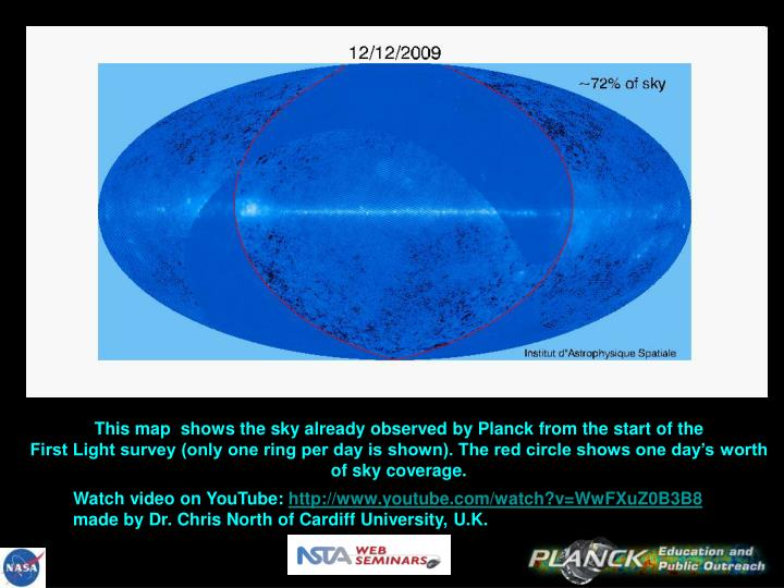 This map shows the sky already observed by Planck from the start of the