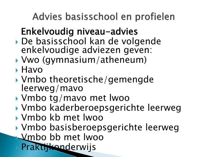 Advies basisschool en profielen