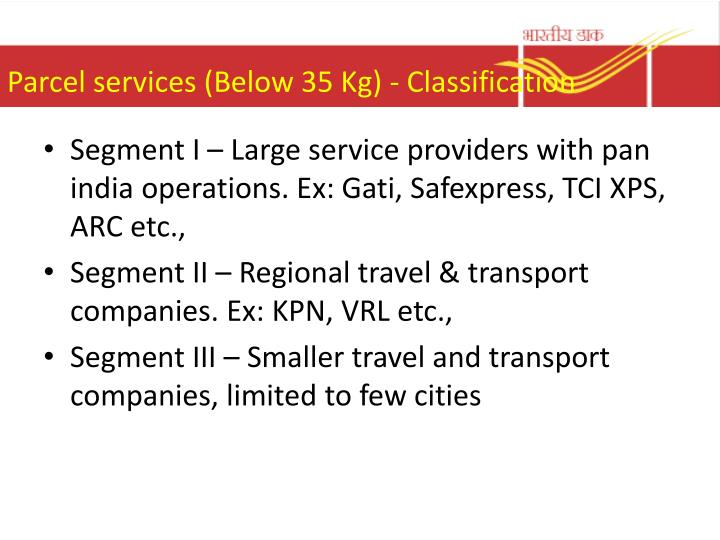 Parcel services (Below 35 Kg) - Classification