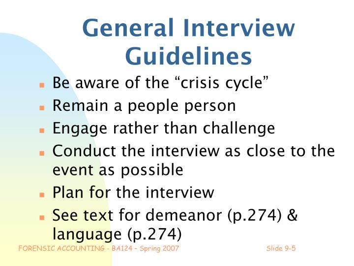 General Interview Guidelines