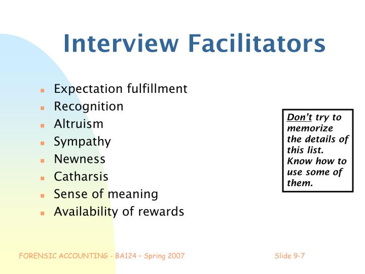Interview Facilitators
