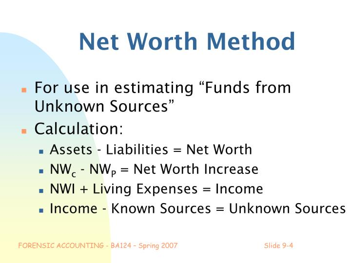 Net Worth Method