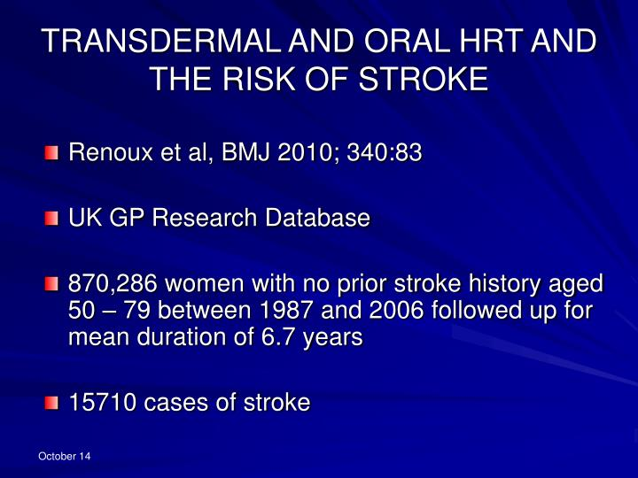 TRANSDERMAL AND ORAL HRT AND THE RISK OF STROKE