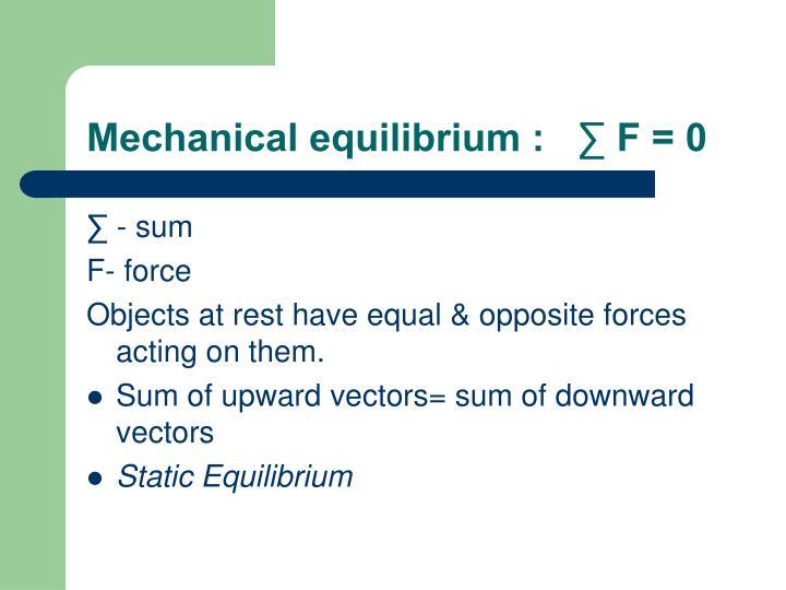 Mechanical equilibrium :   ∑ F = 0