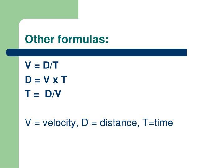 Other formulas:
